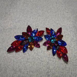 Vtg. Multi~Color Rhinestone Leaf Clip On Earrings